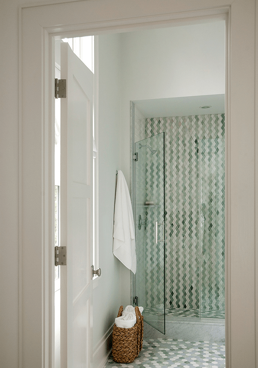 Green Hex Tiles on Shower Floor  Contemporary  Bathroom