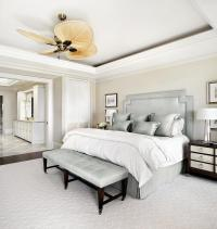 Cream Bedroom Walls with Silver Gray Headboard ...