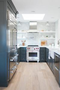 Gray Galley Style Kitchen with Gray and White Quartzite ...