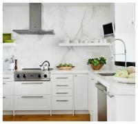Ikea Kitchen Cabinets with Satin Nickel Pulls ...