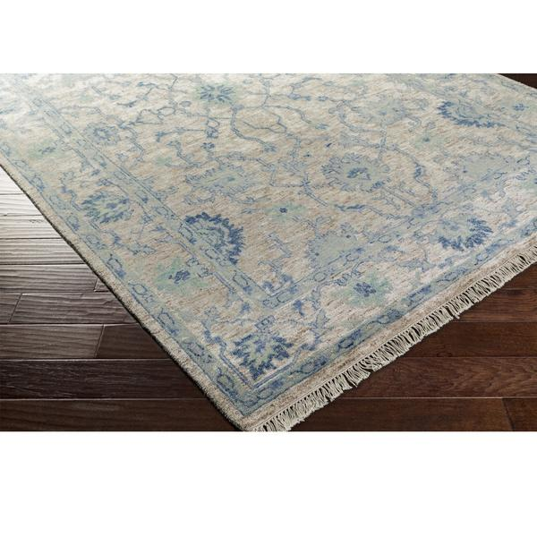 Gray and Blue Bordered Oriental Rug