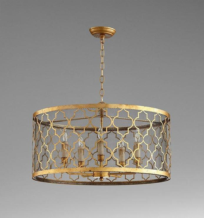 Gold Round Patterned Cutouts Pendant Lamp