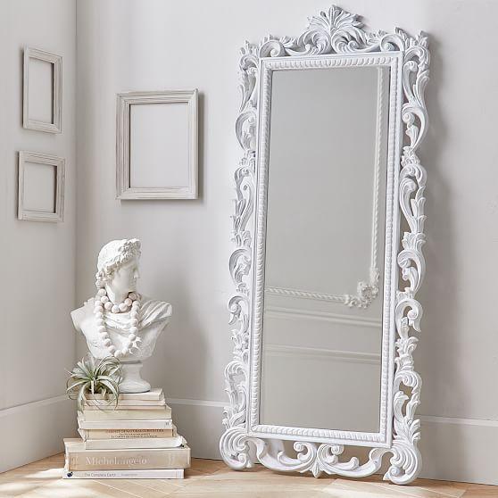 White Ornate Wood Carved Floor Mirror