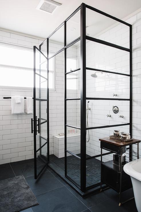 Corner Steel Shower Enclosure With Black Geometric Floor