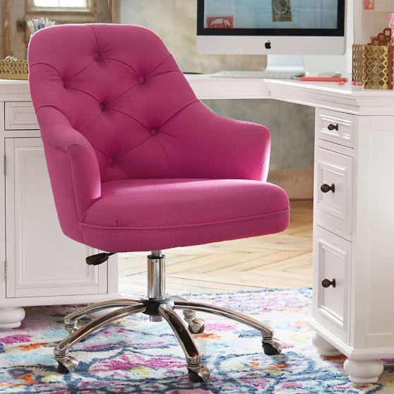 desk chair pink ivory velvet tufted