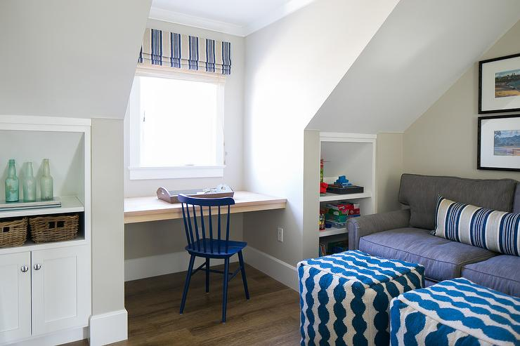 Attic Playroom with Recessed Shelves  Cottage  Boys Room