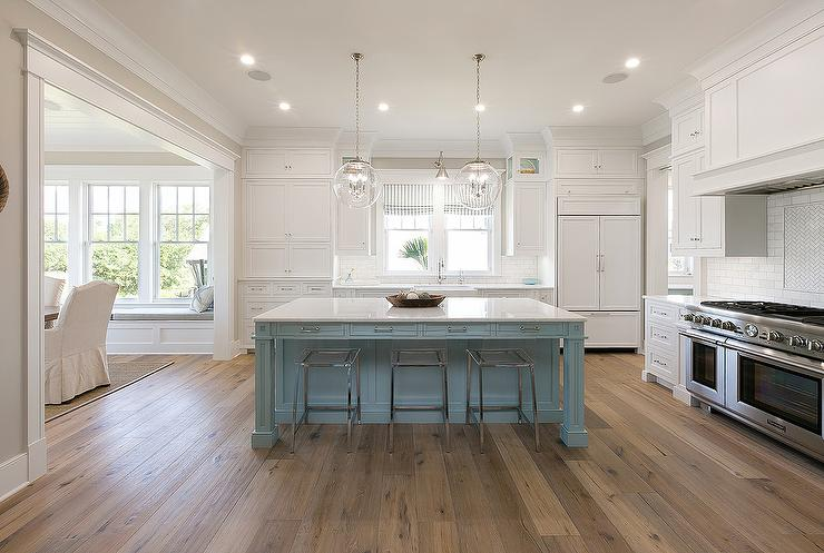 Powder Blue Kitchen Island with Clear Acrylic Bar Stools  Transitional  Kitchen