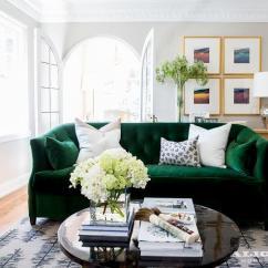 Emerald Green Velvet Sofa Bed Sleeper With Memory Foam Mattress Room - Contemporary Living Sherrill ...