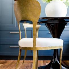 Gold Dining Chairs West Elm Chair And A Half Leaf With Black Table Transitional
