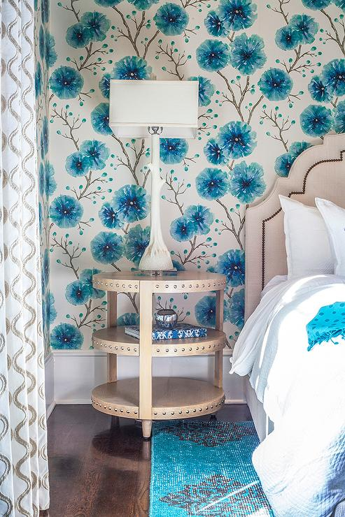Beige and Blue Girl Bedroom with White Faux Bois Lamp