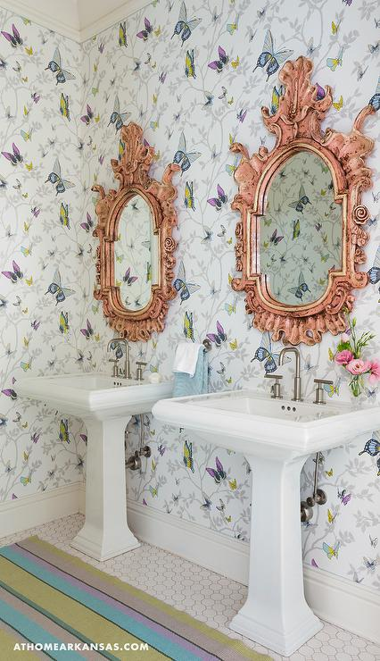 Kids Bathroom With Pink Striped Walls Transitional Bathroom