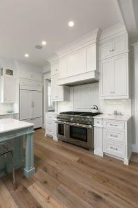 White Kitchen Cabinets with Sawn Oak Wood Floors ...