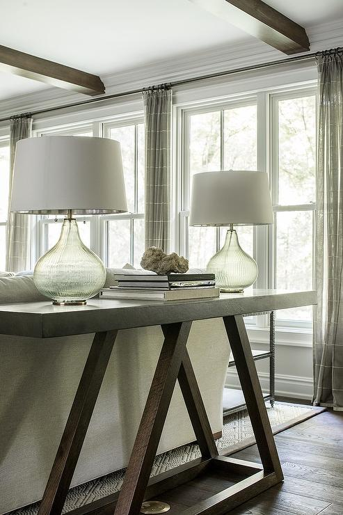 Dark Brown Sofa Table with Gray Glass Lamps  Transitional  Living Room