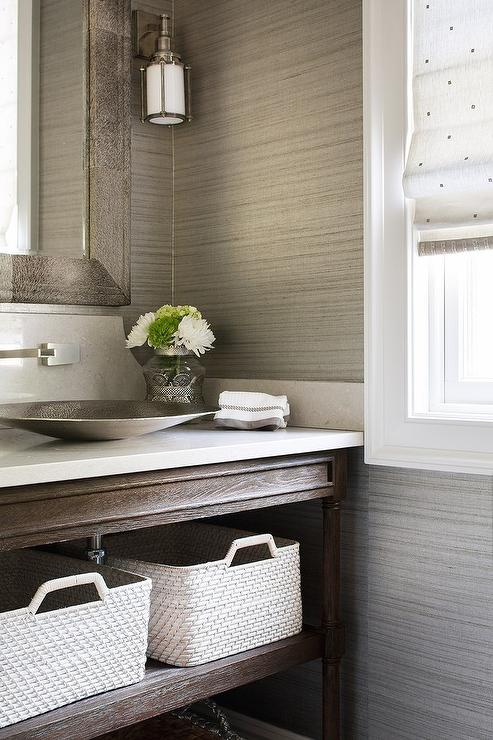 Taupe Powder Room with Empire Rosette Powder Room Vanity