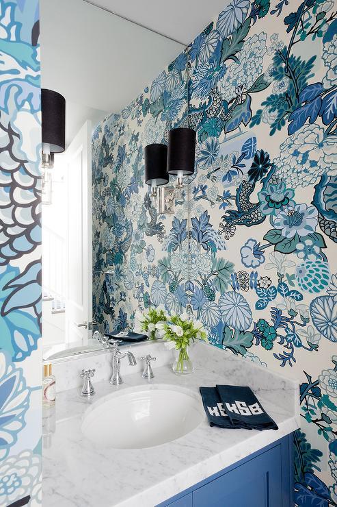Black Beadboard Wallpaper Chiang Mai Dragon Aquamarine Wallpaper Eclectic Bathroom