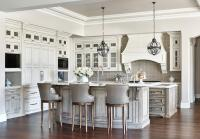 Gray Wash Curved Kitchen Island Breakfast Bar with Gray ...