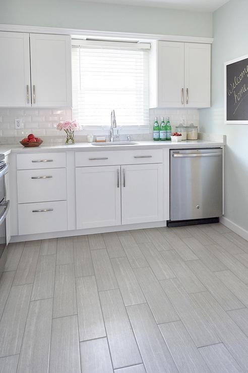 gray tile kitchen floor amish cabinets chicago white with wood like porcelain tiles