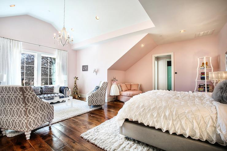 Pink and Gray Girl Bedroom with Glam Living Space