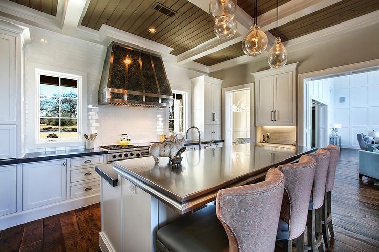 Zinc Top Kitchen Island With Pink Bar Stools Transitional Kitchen