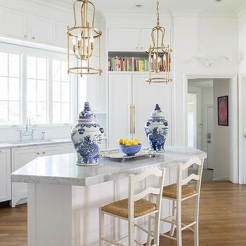 white ladder back chairs rush seats purple rocking chair seat kitchen counter stools design ideas angled center island with gold lanterns and