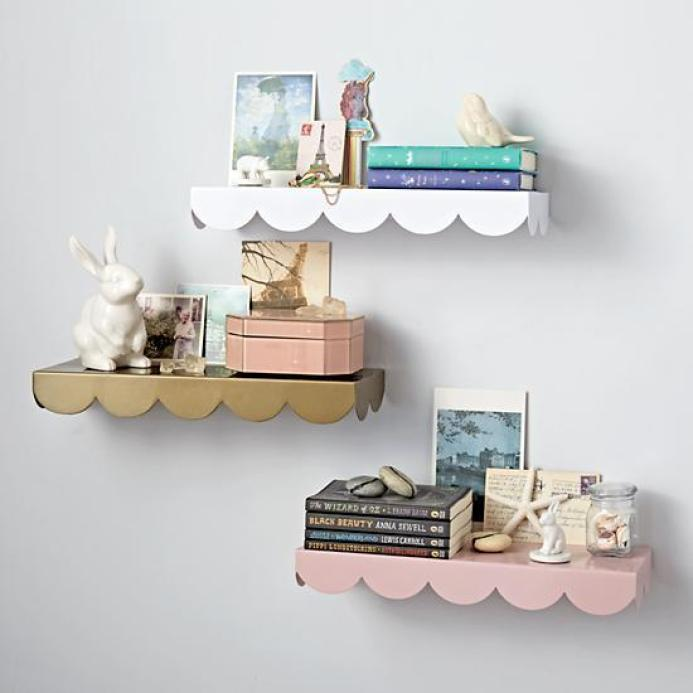 Various Colors Scallop Wall Shelf