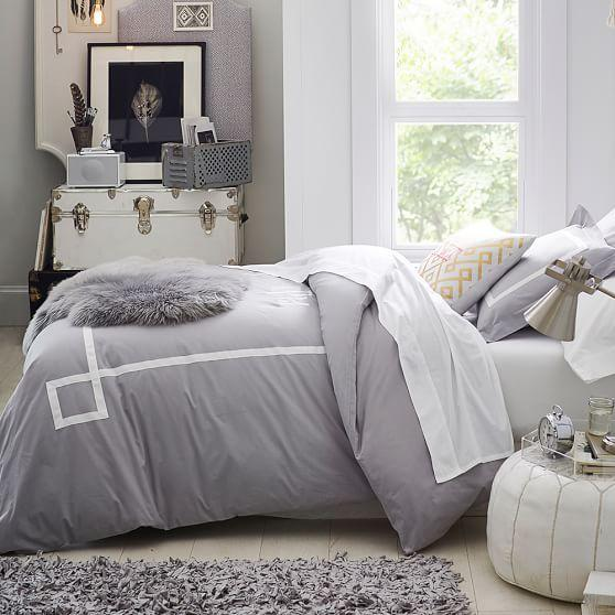 Gray and White Ribbon Trim Bedding