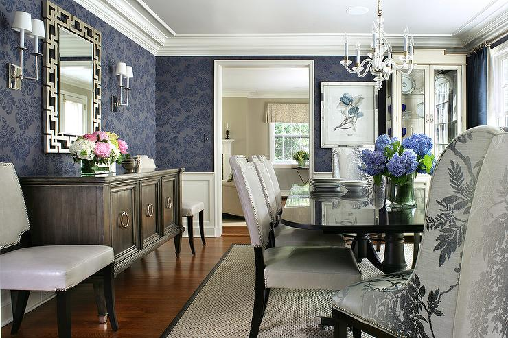 Blue Dining Room with Black Dining Table and White Leather