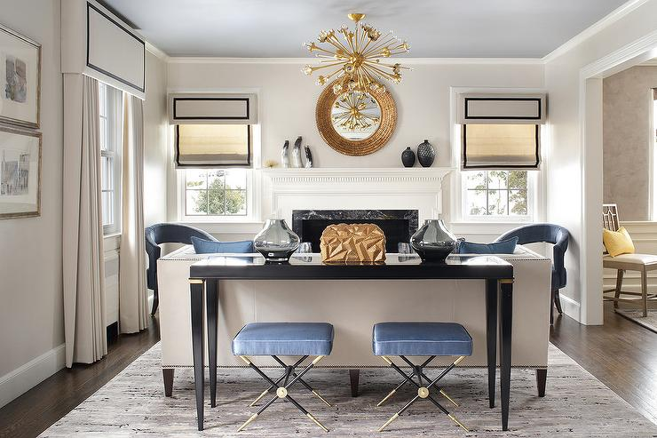 Blue X Stools with Black Sofa Table  Transitional