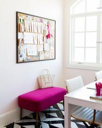 Hot Pink Bench with Black Framed Cork Board