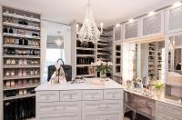 Light Gray Closet with Mirrored Makeup Vanity Cabinets ...