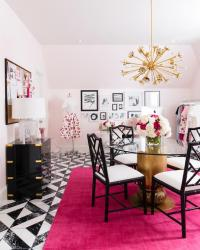 White and Hot Pink Office with Side By Side Desks