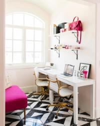 White and Hot Pink Office with Side By Side Desks ...