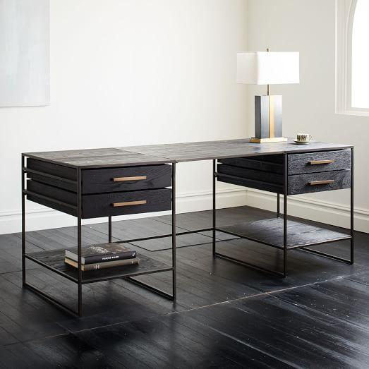 Black Frame Wooden Large Desk