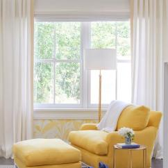 Yellow Bedroom Chair Ikea Poang Cover Reading Corner With And Ottoman Transitional