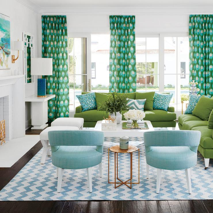 dunham sofa microfiber bed sectional blue and green living room with chevron rug contemporary