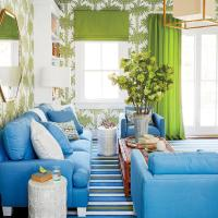 Blue and Green Living Room with Red Rattan Coffee Table ...