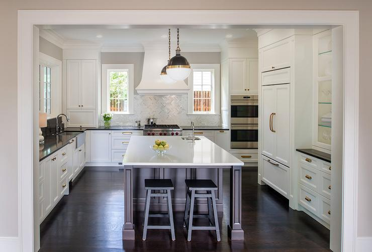 Reclaimed Wood French Kitchen Hood With Marble Cooktop