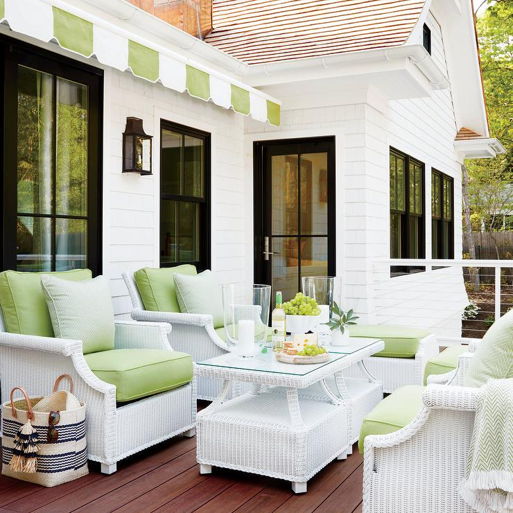 white wicker chairs and table office chair wheels for carpet with apple green cushions cottage den