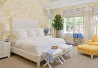 White and Yellow Bedroom with Yellow Chair and Ottoman ...