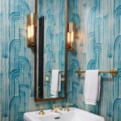 Lighting For Living Rooms Light Blue Wallpaper Room Powder With Brass Towel Holder - Contemporary ...