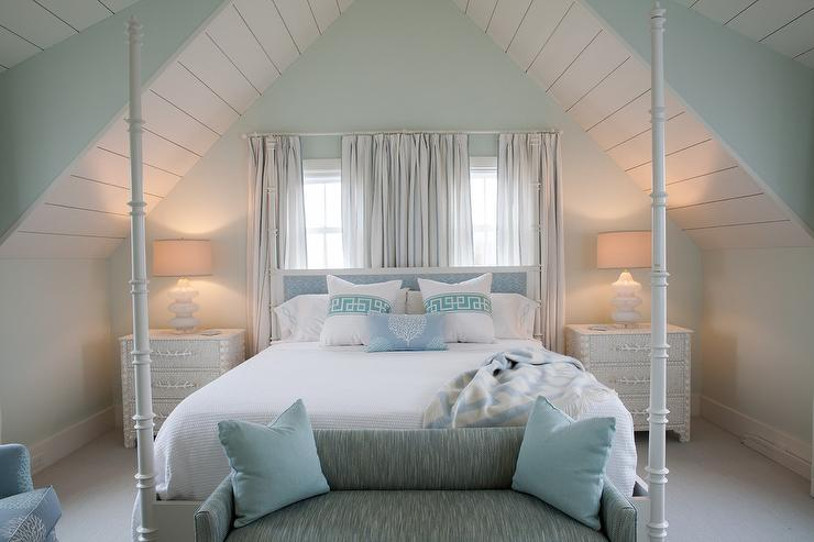 White And Blue Cottage Bedroom With White Seashells