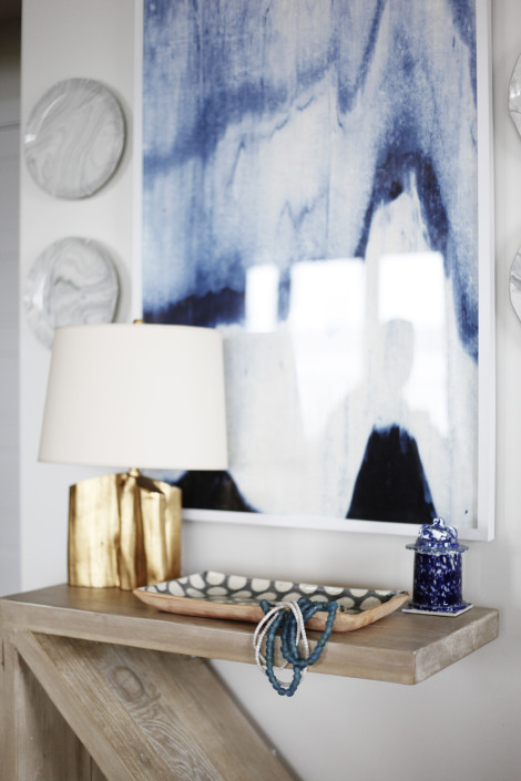 Z Console Table with Gold lEaf Lamp and Blue Abstract Art