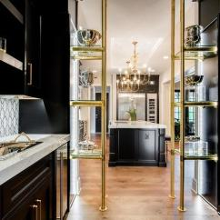 Kitchen Tables Sets Hooks Black And Gold Butler Pantry With Brass Glass Shelves ...
