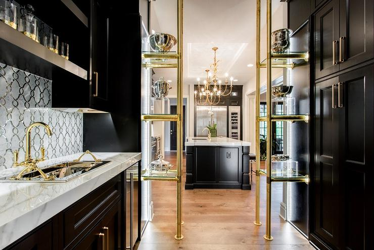 kitchen sink faucet kitchens remodel black and gold butler pantry with brass glass shelves ...
