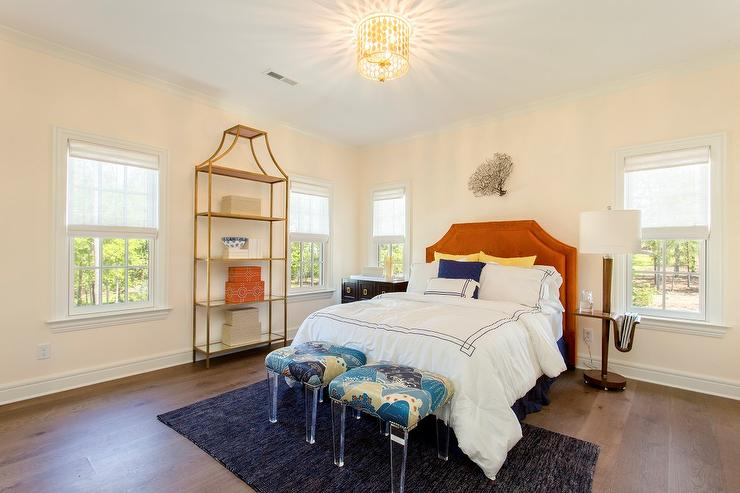 Girl Bedroom Wallpaper Border Teen Bedroom With Orange Headboard And Gold Etagere