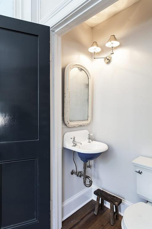 Tiny VIntage Powder Room with Wall Mount Sink  Vintage