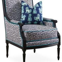 Blue And White Upholstered Chairs Bob Chair Steelcase Dotted Pattern