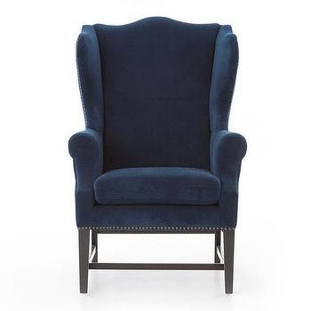 navy blue wingback chairs reclining camping chair reynolds velvet traditional