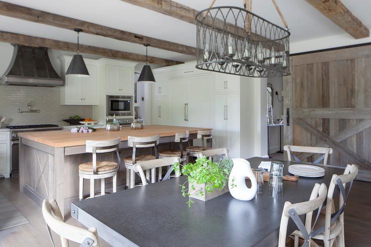 Barn Board Sliding Kitchen Door On Rails Transitional Kitchen