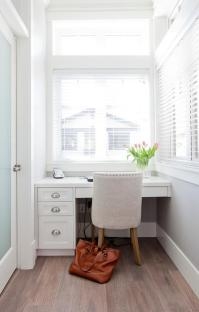 Built In Kitchen Desk Under Mirrored Cabinets ...